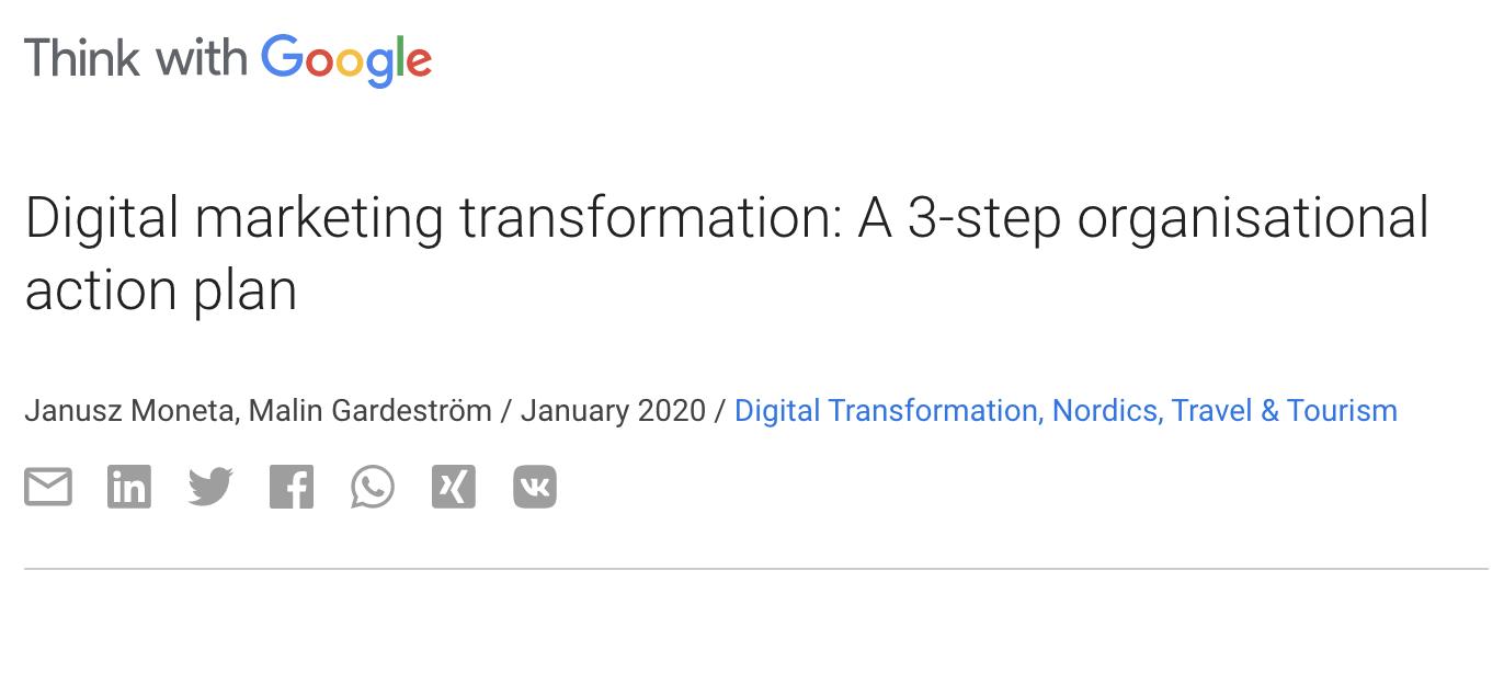 Google digital marketing transformation plan