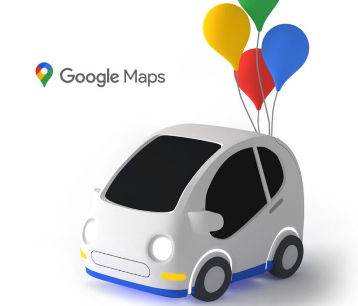 Google maps car with balloons