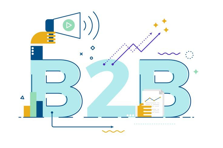 B2B graphic with suiting elements