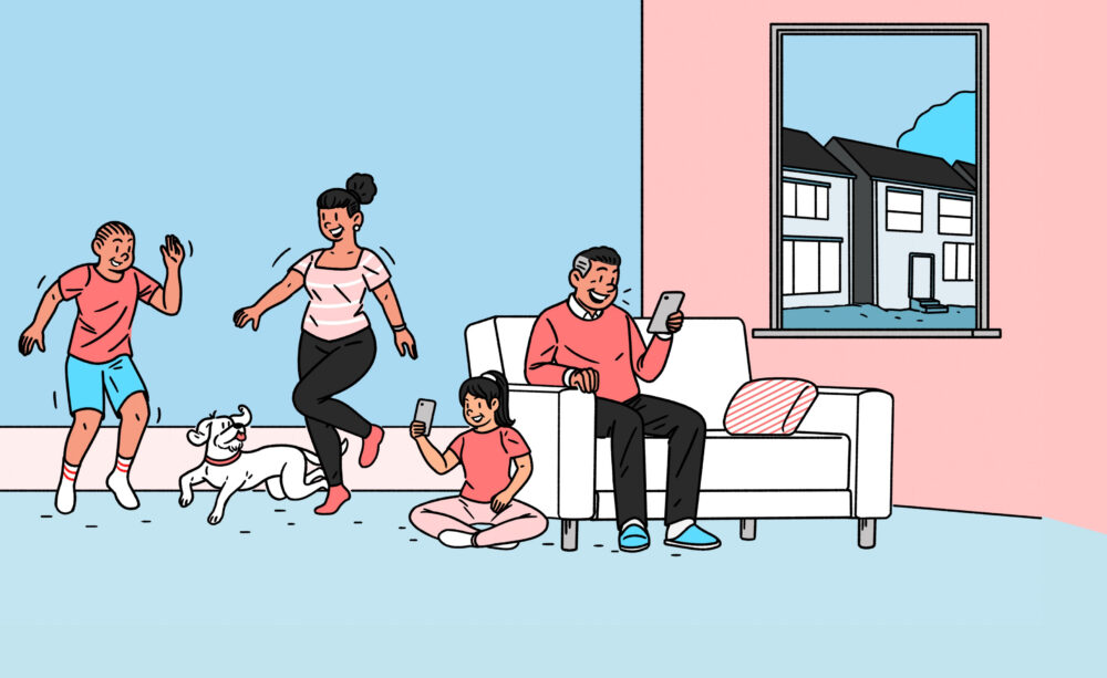 Drawn family dancing in living room with dog and phones
