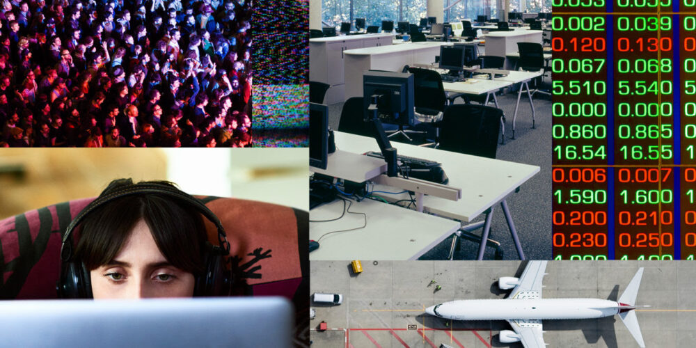 Collage of social gathering, an empty office, code, a person working from home and a plane.