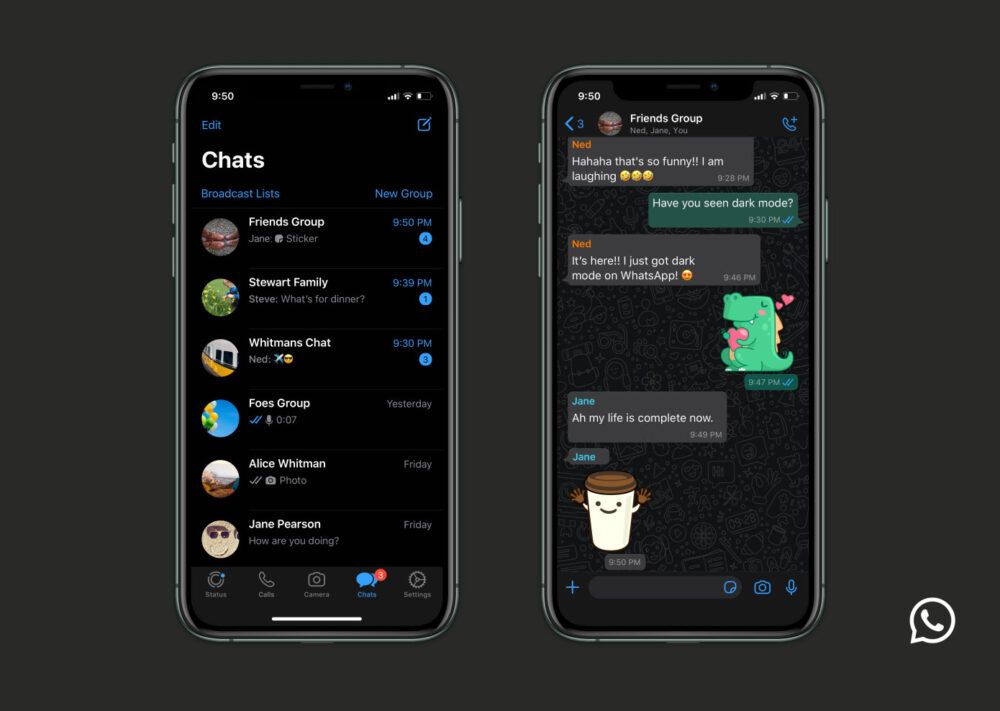 WhatsApps nya mörkerläge i mobilen