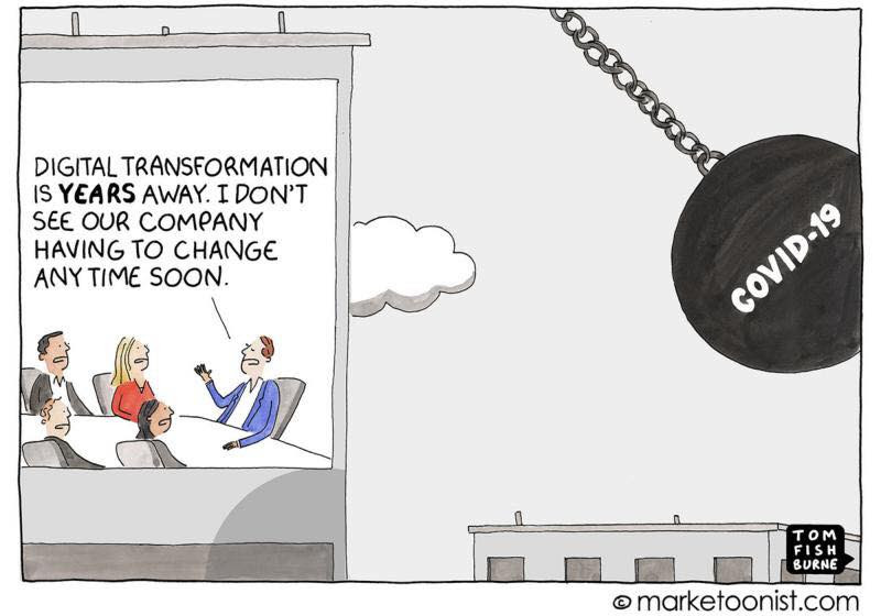 covid-19 cartoon of digital transformation
