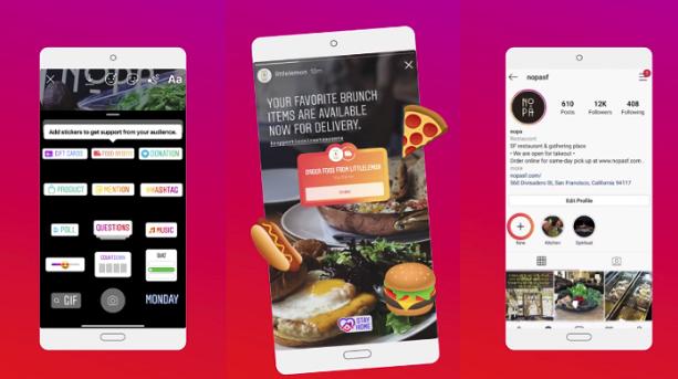 Skärmbilder av Instagrams nya sticker med delivery