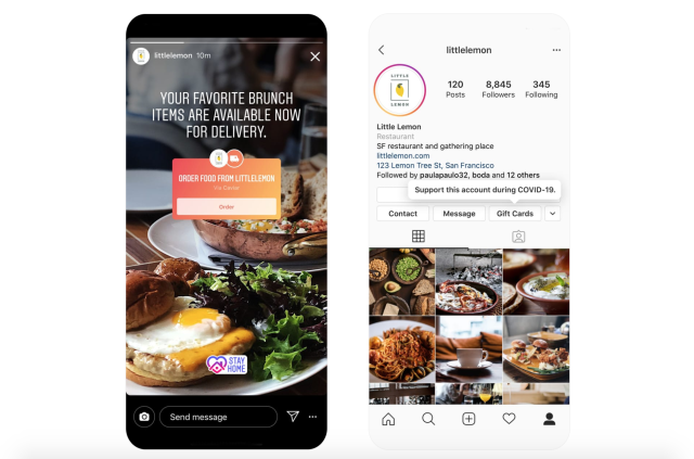 Screen shots of Instagram's new features of ordering food and buying gift cards