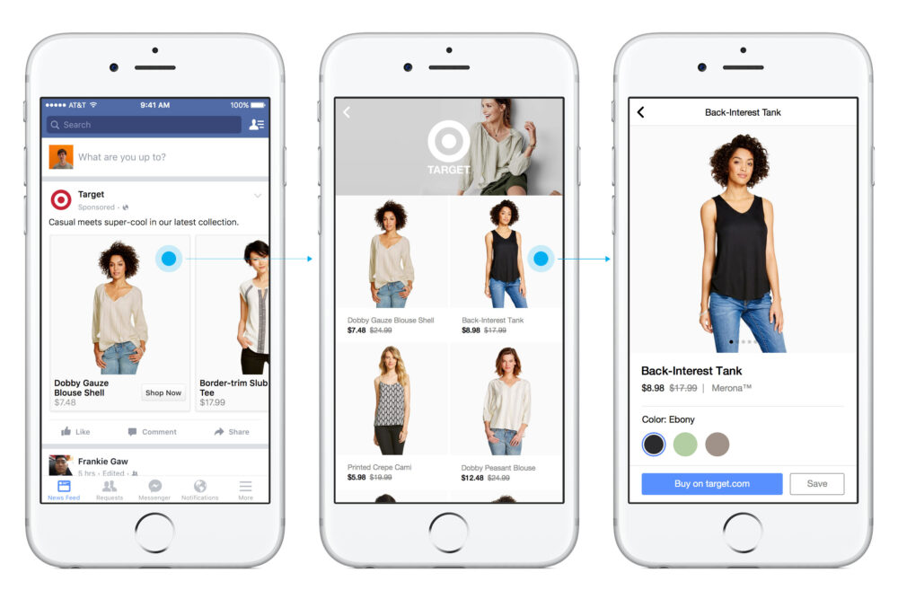 Facebook Shop screen shots