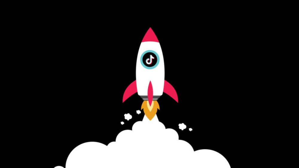 Illustrated TikTok logo in launching spaceship