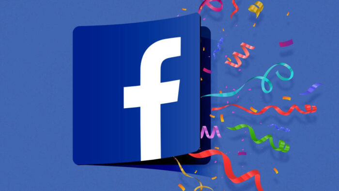 Facebook logo with confetti