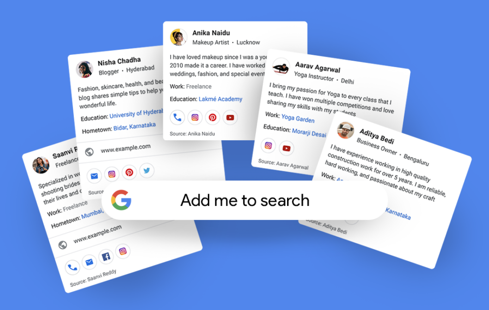 Google search profile cards