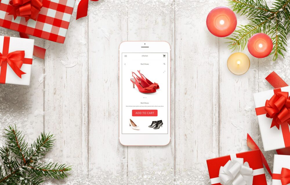 Christmas e-commerce shopping on phone