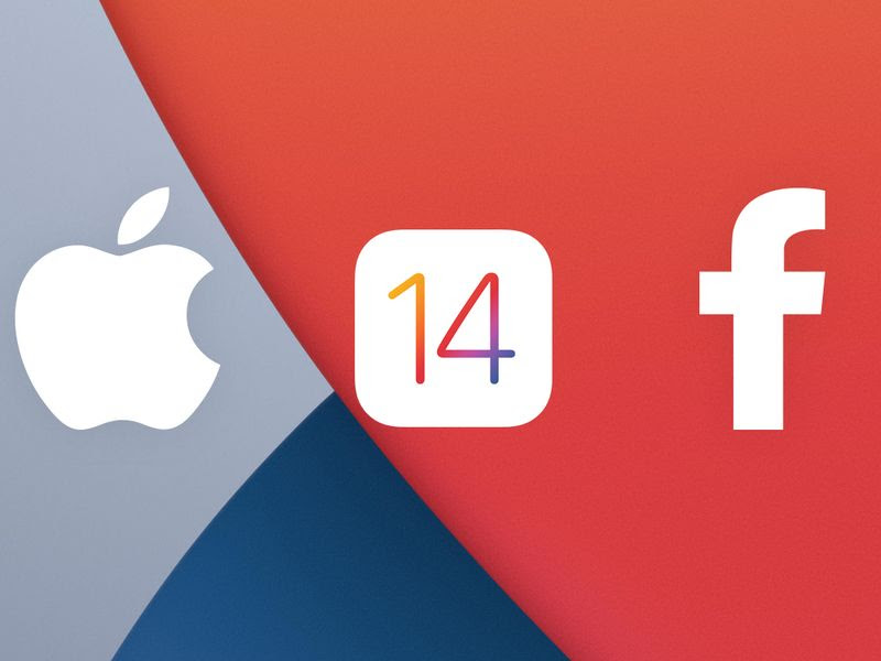 iOS14, Facebook and Apple logo combined
